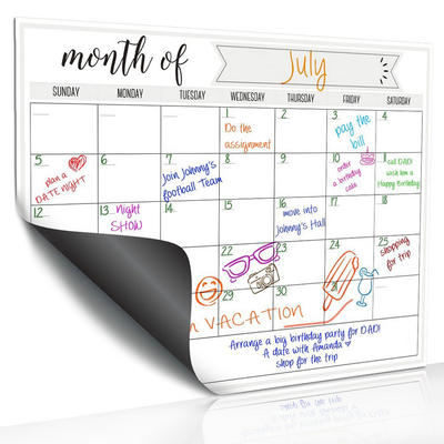 Large custom magnetic dry erase calendars for fridge