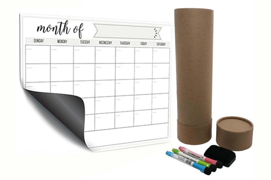 Large custom magnetic dry erase calendars for fridge