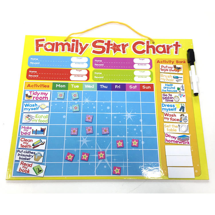Magnetic responsibility behavior reward chore star chart board for kids family