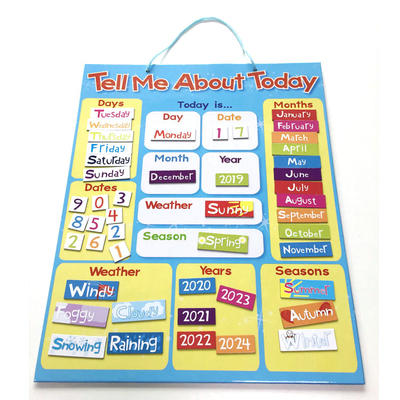 Children's educational tell me about today my first magnetic calendar board