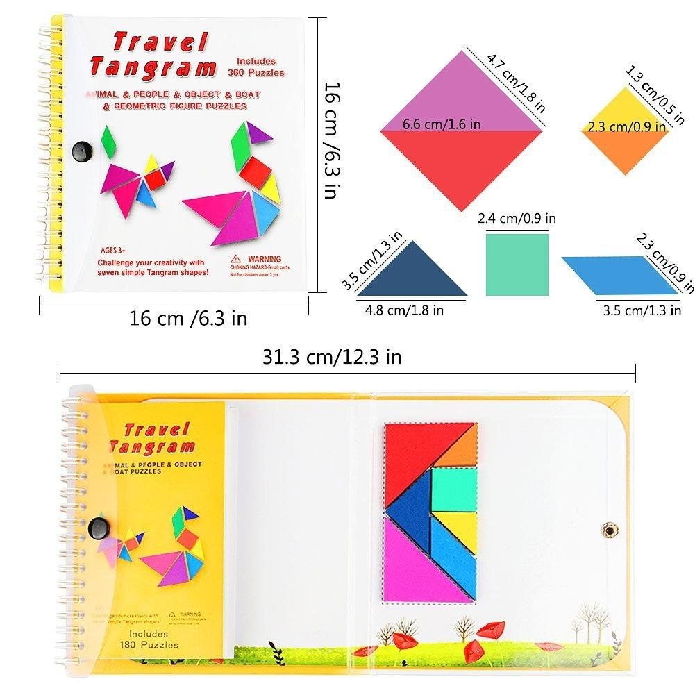 Magnetic Tangram Travel Games 7 Simple Magnetic Colorful Shapes Kid Adult Challenge IQ Educational Book